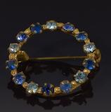 Vintage Blue Rhinestone Pin