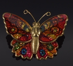 Vintage cloisonne Butterfly Pin